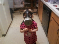 My Daughter Donning Her Gas Mask